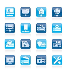 hosting and internet icons vector image