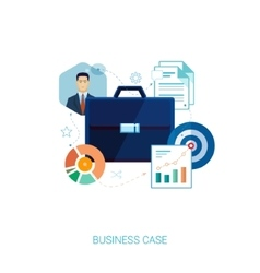 Busines suit case and presentation flat icons vector