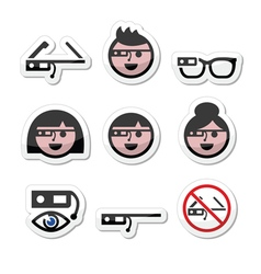 Google glass labels set vector