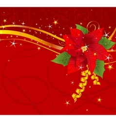 christmas poinsettia background vector image