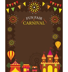 Amusement park with decoration frame vector