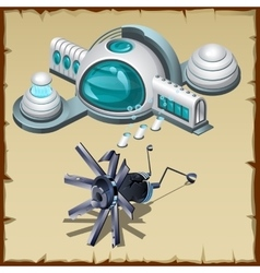 Underwater research station detail and robot vector