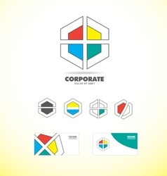 Business corporate polygon badge logo vector