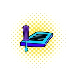 Screwdriver and hdd icon comics style vector