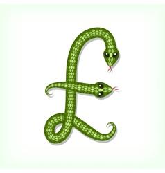 Snake font Pound symbol vector image
