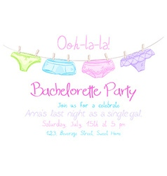hand drawn bachelorette party invitation card with vector image