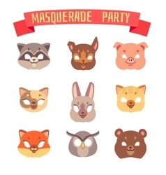 Animals party masks set vector