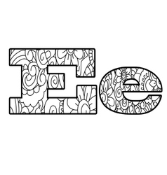 Anti coloring book alphabet the letter e vector