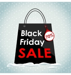 Black Friday sales Black bag in the snow vector image vector image