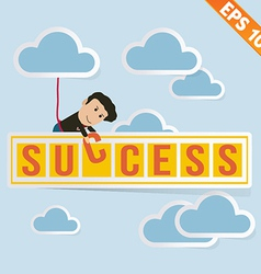Cartoon businessman with success billboard - vector