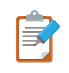 clipboard and marker icon vector image