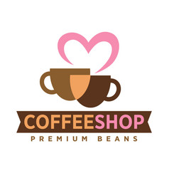 Coffee shop logo with love premium beans icon on vector