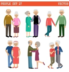 Couples of elderly people vector
