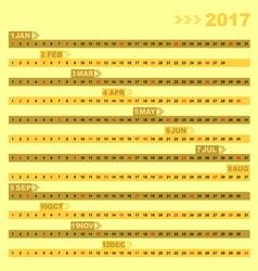 Design 12 months of 2017 calendar template vector