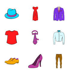 Fashion icons set cartoon style vector
