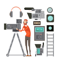 Film cameraman with video equipment vector