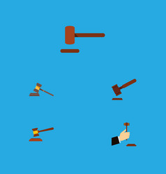 Flat icon hammer set of law hammer court and vector