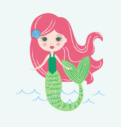 Freehand handdrawn mermaid with long red hair vector