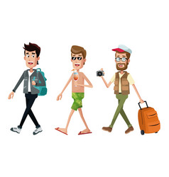 Group men traveler toruist vector