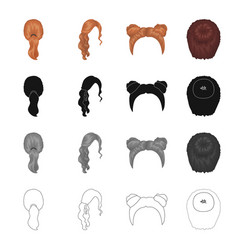 Hair longchignon and other web icon in cartoon vector