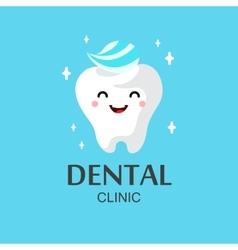 Healthy cute cartoon tooth character vector image