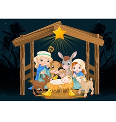 Holy family at christmas night vector
