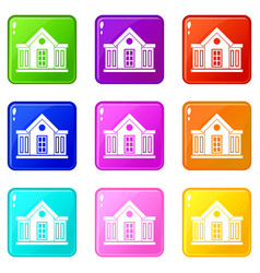 Mansion icons 9 set vector