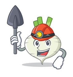 Miner turnip mascot cartoon style vector