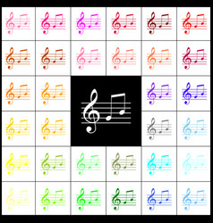 Music violin clef sign g-clef and notes g h vector