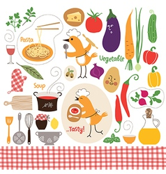 Set of cartoon food ingredient vector image