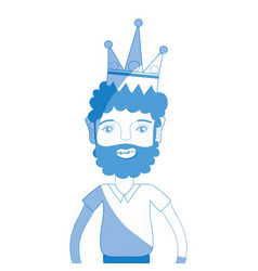 Silhouette nice man with beard style and crown vector