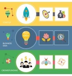 Startup crowdfunding flat horizontal banners set vector
