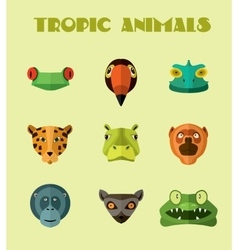 Tropical animals icons format vector image vector image