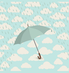 Umbrella over rain cloudy sky clouds pattern vector