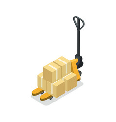 warehouse forklift cart with boxes isometric icon vector image vector image