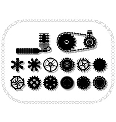 wheels and mechanisms silouhettes inside a bycicle vector image vector image