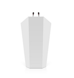 white rostrum podium tribune with microphones vector image