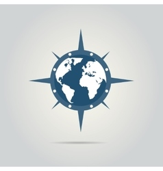 World globe with compass vector image