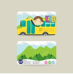 Front and back kids member card template vector