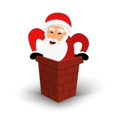 Christmas smiling santa claus character in chimney vector