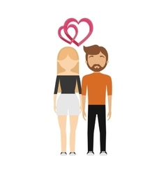 Couple in love hearts relationship vector