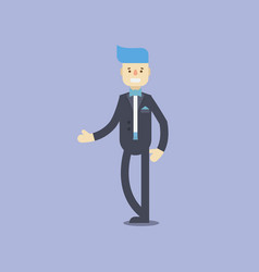 Flat groom characters blue hair and black suite vector