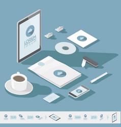 isometric corporate identity template vector image