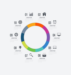 Infographics template 10 options with circle vector