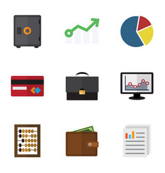 Flat icon incoming set of graph payment growth vector
