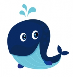 Big blue ocean cartoon whale vector