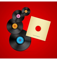 Vinyl record discs on red background vector