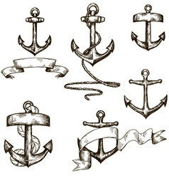 set of hand drawn anchors and ribbons vector image