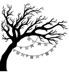 Drawing of the tree with flags vector