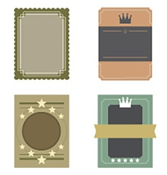 Set of blank vintage retro rectangle badge vector